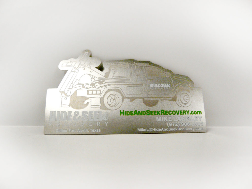 Contour Cut Metal Business Card Automotive Auto Industry Etched