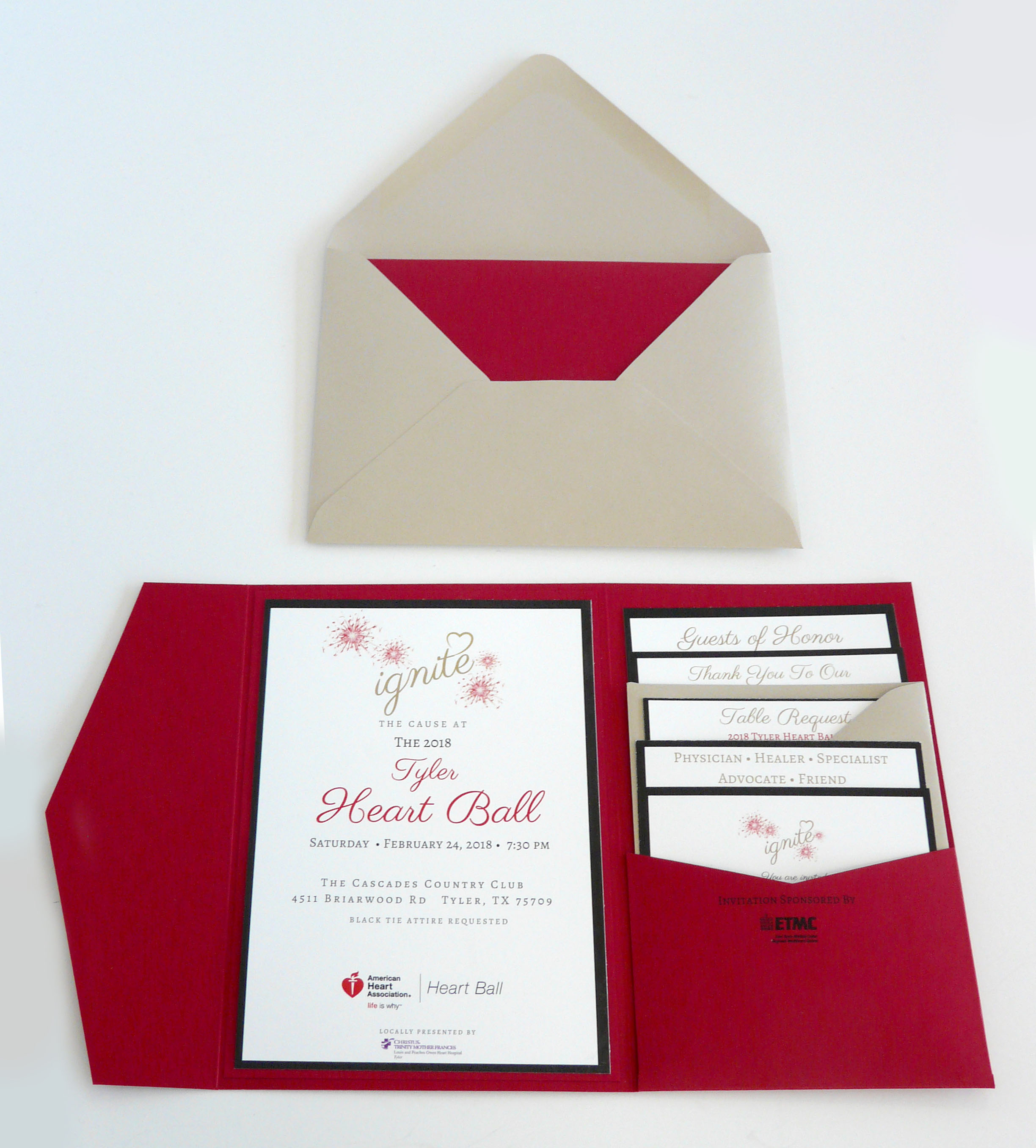 Elegant Invitation Folders for the Heart Ball