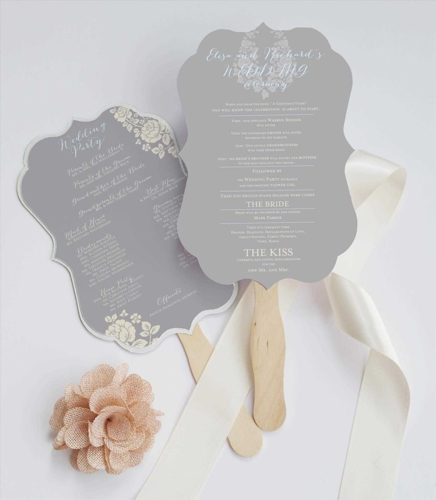 Elegant Wedding Program Hand Fan