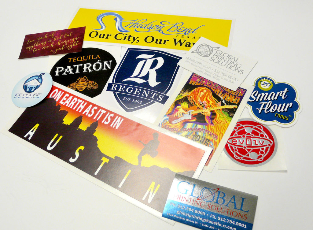 Custom Printed Stickers from Global Printing Solutions in Austin Texas
