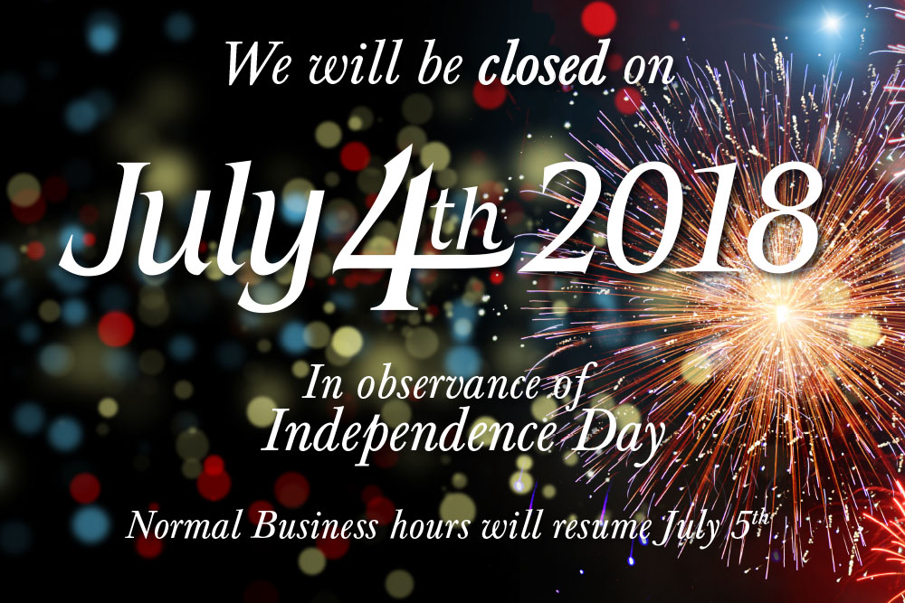 Special Holiday Hours July 4th 2018