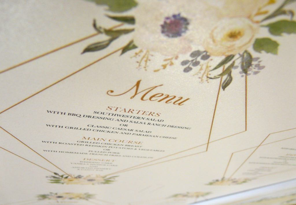 Pearlescent Wedding Menu Printing