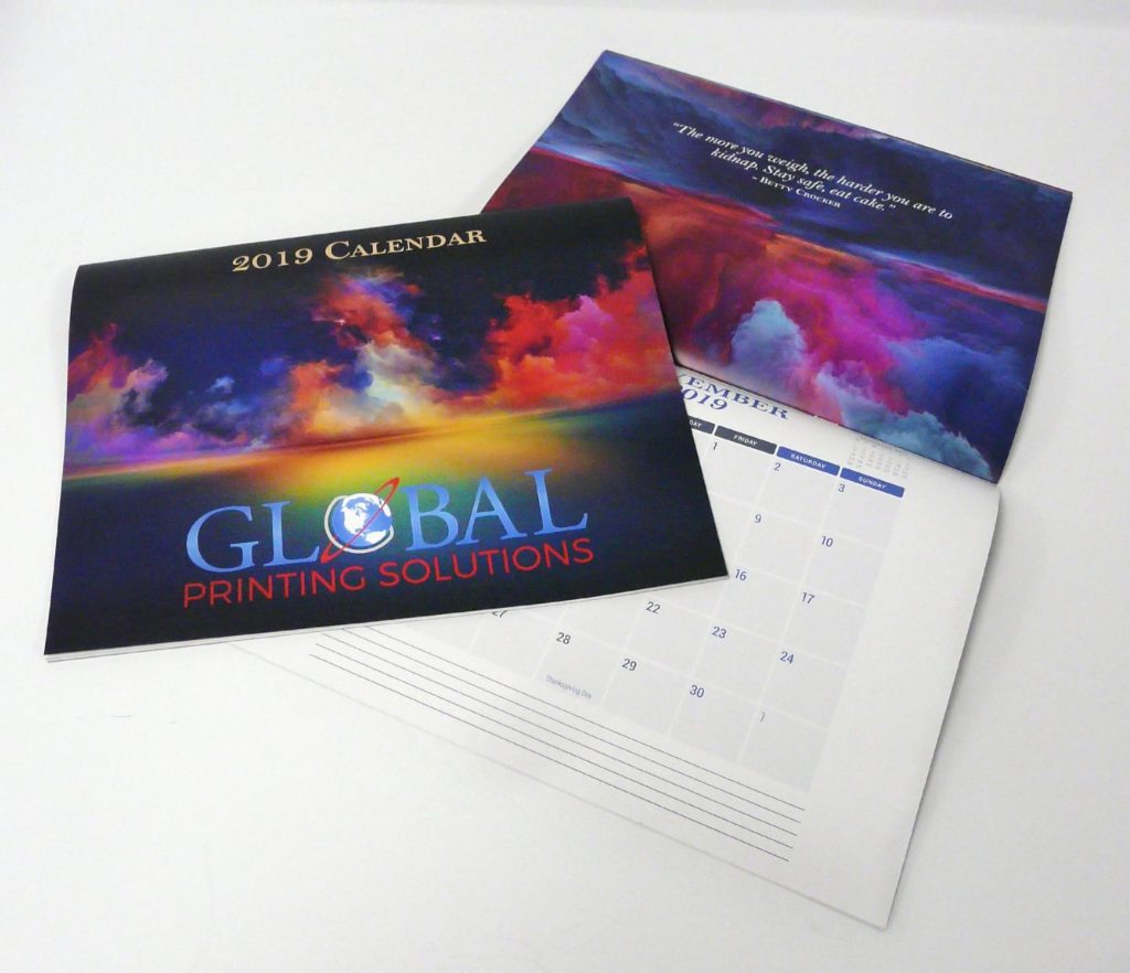 Custom Printed  2019 Business Calendars by Global Printing in Austin Texas