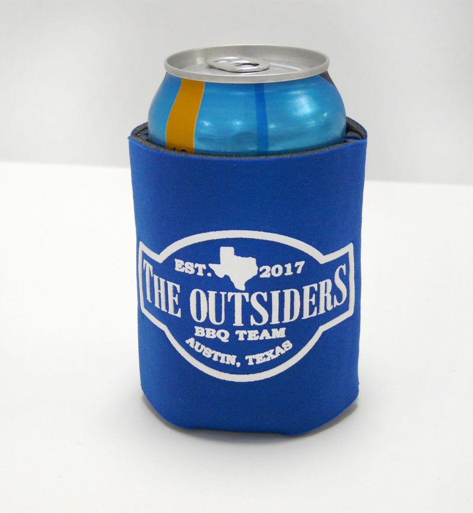 Custom Printed Coozie Koozy Beverage Holder Promotional Product Party Favor Barbecue BBQ Austin Texas ATX