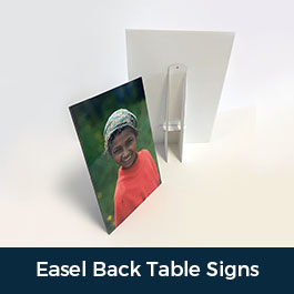 Easel Back Signs Table Sign