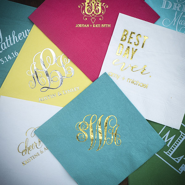 Custom Printed Napkin Metallic Foil for Weddings and Events