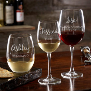 Custom Etched Glassware Wine Glasses Bridesmaid Gifts